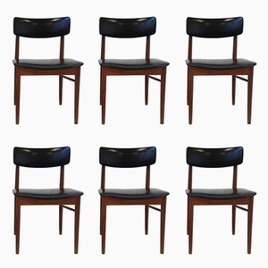 Teak & Leatherette Dining Chairs by S. Chrobat for Sax, 1960s, Set of 6