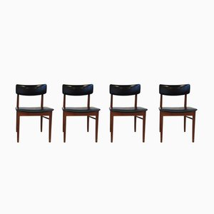Esszimmerstühle mit Gestell aus Teak & Sitz aus Leder von S. Chrobat für Sax, 1960er, 4er Set