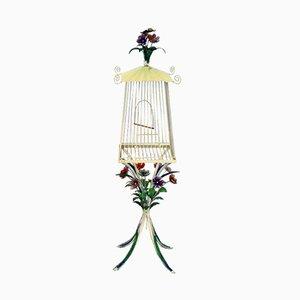 Gabbia per uccelli Mid-Century in ferro battuto verniciato