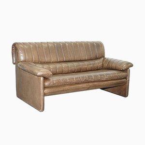 Sofá de dos plazas DS-85 de cuero marrón de de Sede, años 80