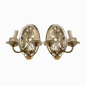 Vintage Mirror & Crystal Sconces, 1950s, Set of 2