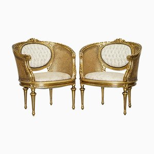 19th Century Giltwood Louis XV Chesterfield Armchairs, Set of 2