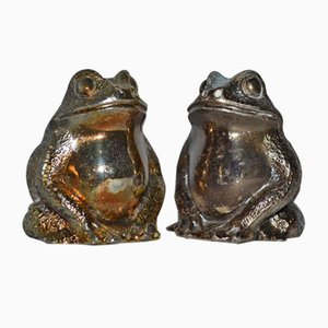Silvered Bronze Frog Salt and Pepper Shaker Set, 1970s