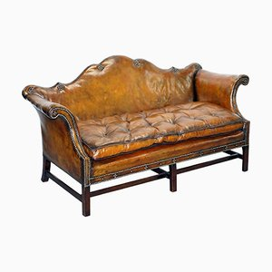 Antique Chippendale Chesterfield Brown Leather Sofa