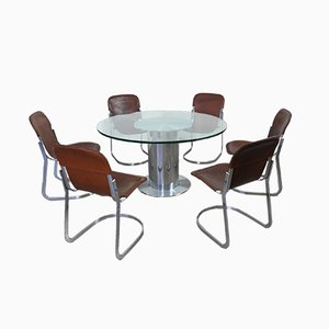 Italian Dining Set with Table & 6 Chairs by Willy Rizzo for Cidue, 1970s