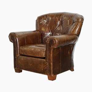 Large Brown Leather Club Chair from Ralph Lauren, 1980s