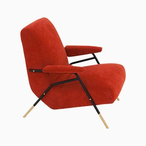 Modernist Italian Velvet Lounge Chair, 1950s