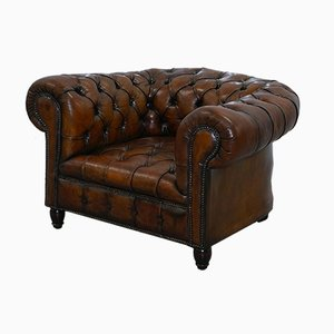 Antique Victorian Brown Leather Chesterfield Armchair