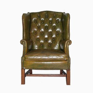Antique Georgian Green Leather Wingback Armchair