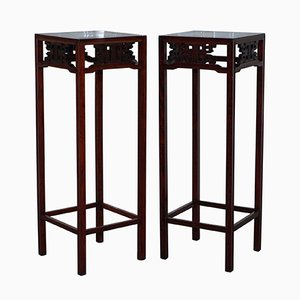 Antique Chinese Rosewood Plant Stands, Set of 2