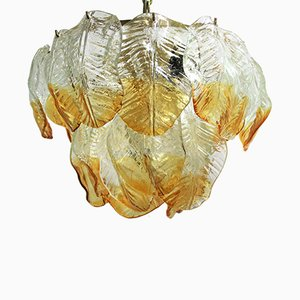 Murano Glass Leaf Chandelier from Mazzega, 1960s