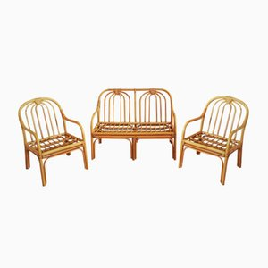 Italian Reed Seating Set of Bench & Chairs, 1960s