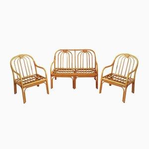 Juego de banco y sillas italianas de caña, años 60