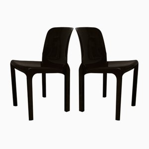 Dark Brown Selene Chairs by Vico Magistretti for Artemide, 1969, Set of 4