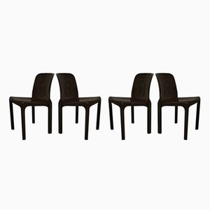 Dark Brown Selene Chairs by Vico Magistretti for Artemide, 1969, Set of 6