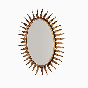 Oval Forged Iron Sun Mirror, 1970s