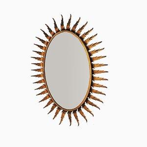 Ovaler Spiegel aus künstlichem Gusseisen in Sonnen-Optik, 1970er