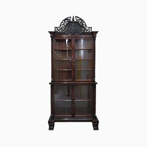 Large Victorian Mahogany Hand-Carved Wood Bookcase