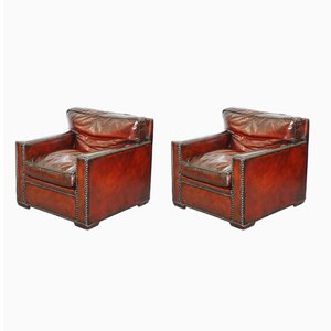 Vintage Bordeaux Leather Armchairs, Set of 2