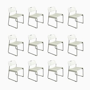 White Omstak Stacking Chairs by Rodney Kinsman, 1971, Set of 12