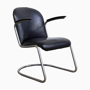 Model 413 Black Vinyl Easy Chair by W.H. Gispen, 1935