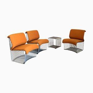 Beistelltisch & 3 Pantonova Stühle von Verner Panton für Fritz Hansen, 1971