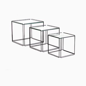 Mid-Century French Black Metal & Glass Nesting Tables by Max Sauze Isocele, 1970s