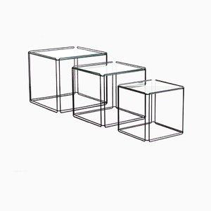 Tavolini Mid-Century in metallo nero e vetro di Max Sauze Isocele, Francia, anni '70
