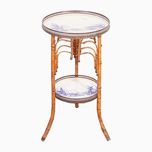 Art Nouveau Dutch Two-tier Bamboo Console Table, 1890s