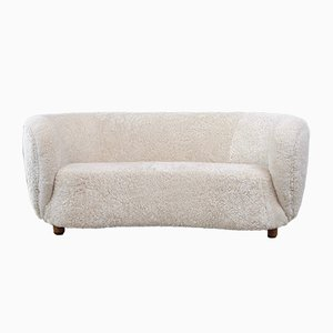 Curved Danish Sheepskin Sofa, 1940s