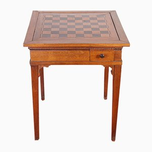 Antiker Schach- & Spieltisch aus Eiche