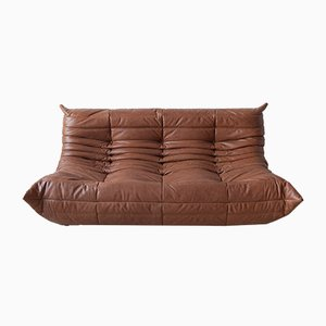 Sofá Togo vintage de cuero Kentucky marrón de Michel Ducaroy para Ligne Roset