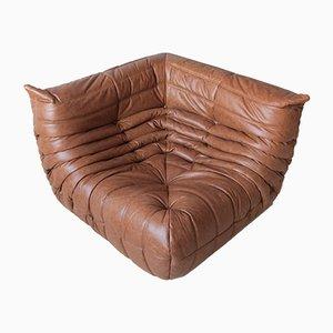 Canapé d'Angle Togo Vintage en Cuir Marron par Michel Ducaroy pour Ligne Roset