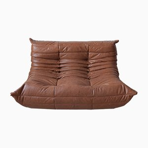 Vintage Kentucky Brown Leather Togo Sofa by Michel Ducaroy for Ligne Roset