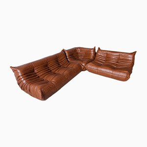 Whiskey Leather Togo Living Room Set by Michel Ducaroy for Ligne Roset, 1970s