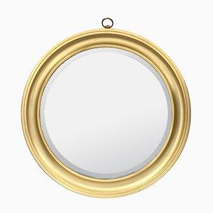 Espejo italiano de aluminio dorado, años 60