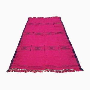 Alfombra turca vintage de lana rosa