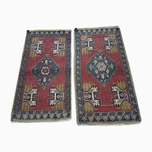 Vintage Handmade Turkish Oushak Area Rugs, Set of 2