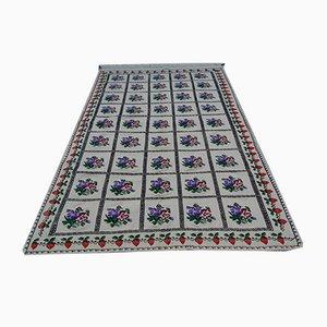 Türkischer Vintage Jajim Teppich mit Strickmuster