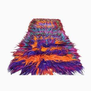 Alfombra vintage peluda de lana de angora