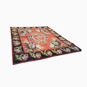 Türkischer Vintage Floraler Teppich