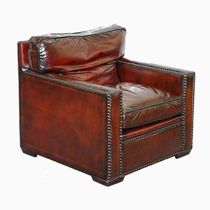 Vintage Handmade Bordeaux Leather Armchair