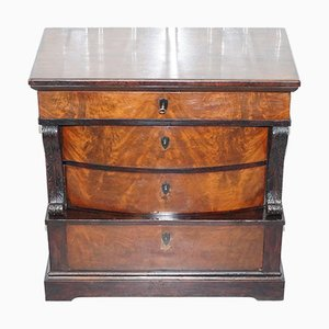 Antique French Victorian Mahogany Bow Fronted Chest of Drawers