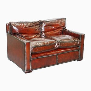 Vintage Bordeaux Leather Two-Seater Sofa