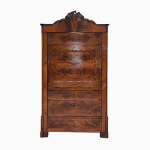 Antiker viktorianischer Barschrank aus Nussholz mit Innenbeleuchtung