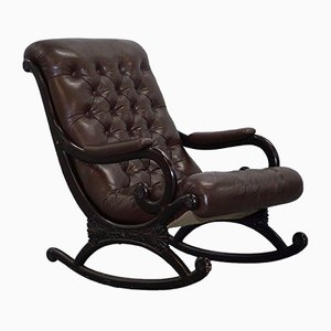 Danish Brown Leather Chesterfield Rocking Chair, 1970s
