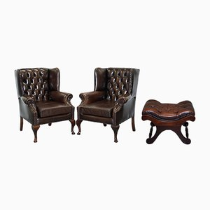 Brown Leather Chesterfield Footstool & 2 Armchairs Set, 1960s