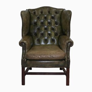 Green Leather Chesterfield Wingback Armchair, 1960s