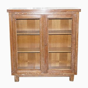 Art Deco Limed Oak Display Bookcase