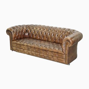 Vintage Brown Leather Chesterfield Club Sofa, 1920s